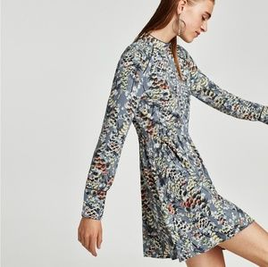Zara NWT High Neck Floral Dress